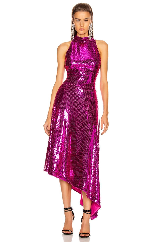 Image 1 of RASARIO Asymmetric Sequined Midi Dress in Magenta