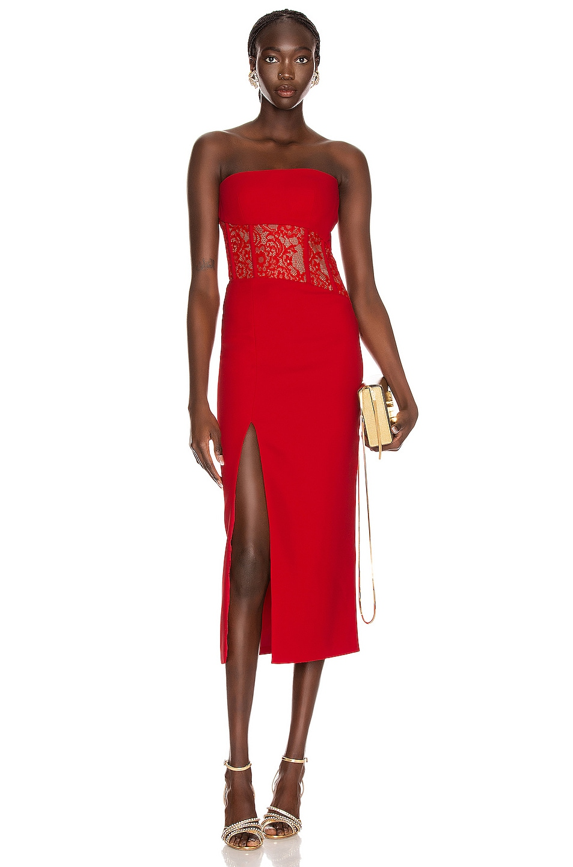 Image 1 of RASARIO Asymmetric Corset Midi Dress in Red