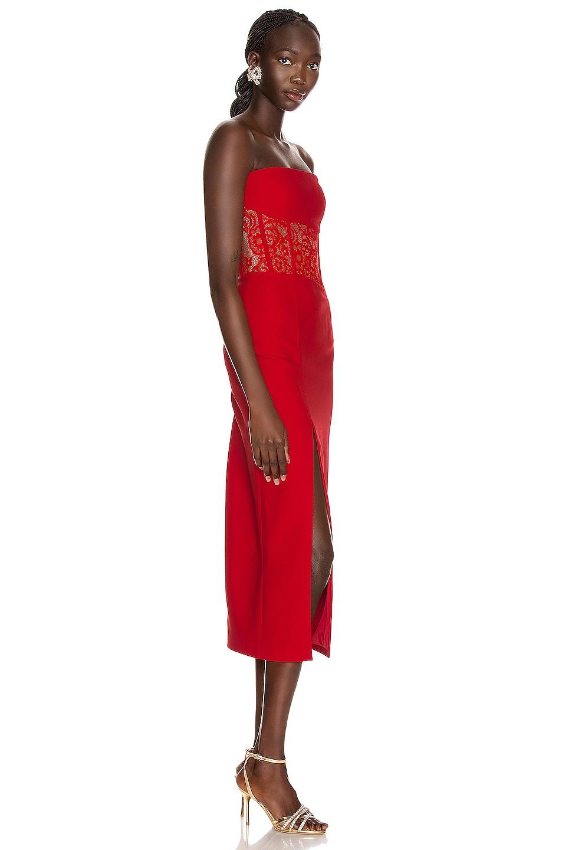 Image 2 of RASARIO Asymmetric Corset Midi Dress in Red