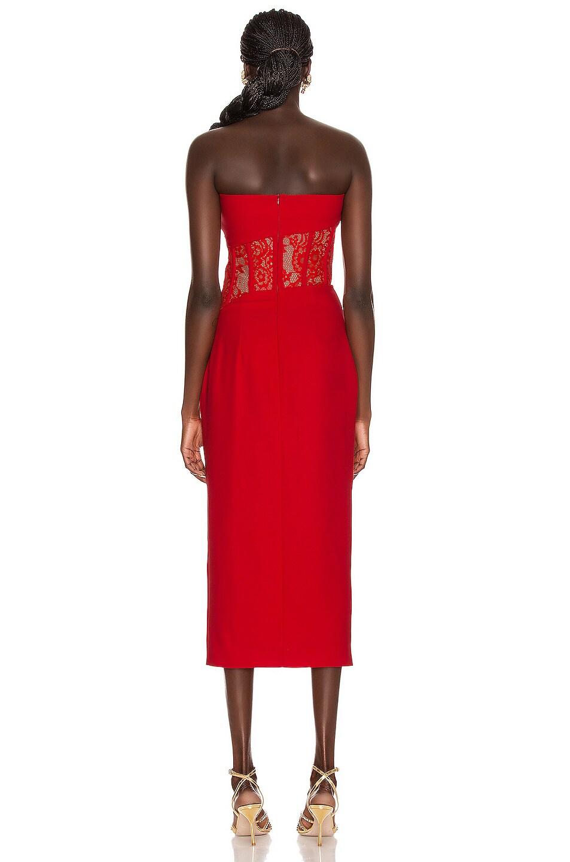 Image 3 of RASARIO Asymmetric Corset Midi Dress in Red