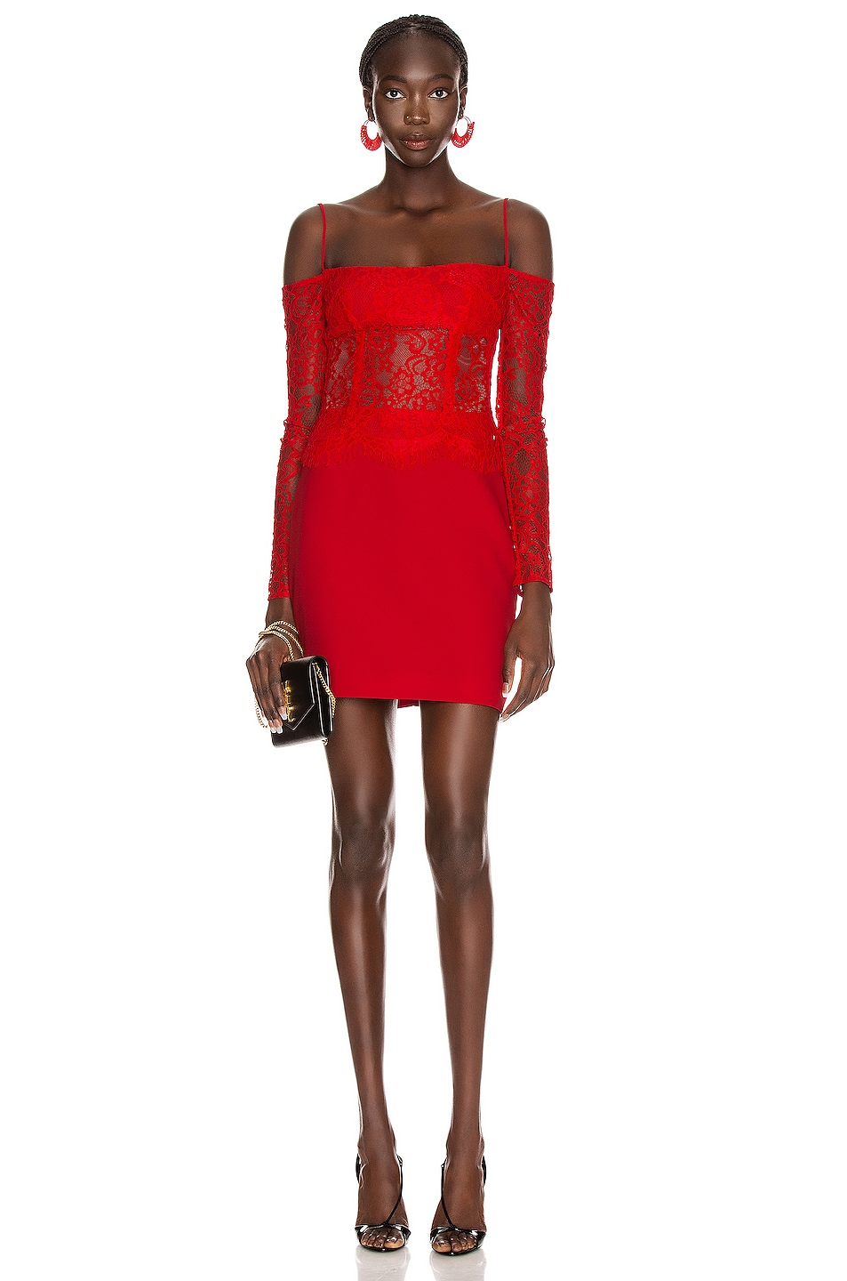 Image 1 of RASARIO Cold Shoulder Mini Dress in Red