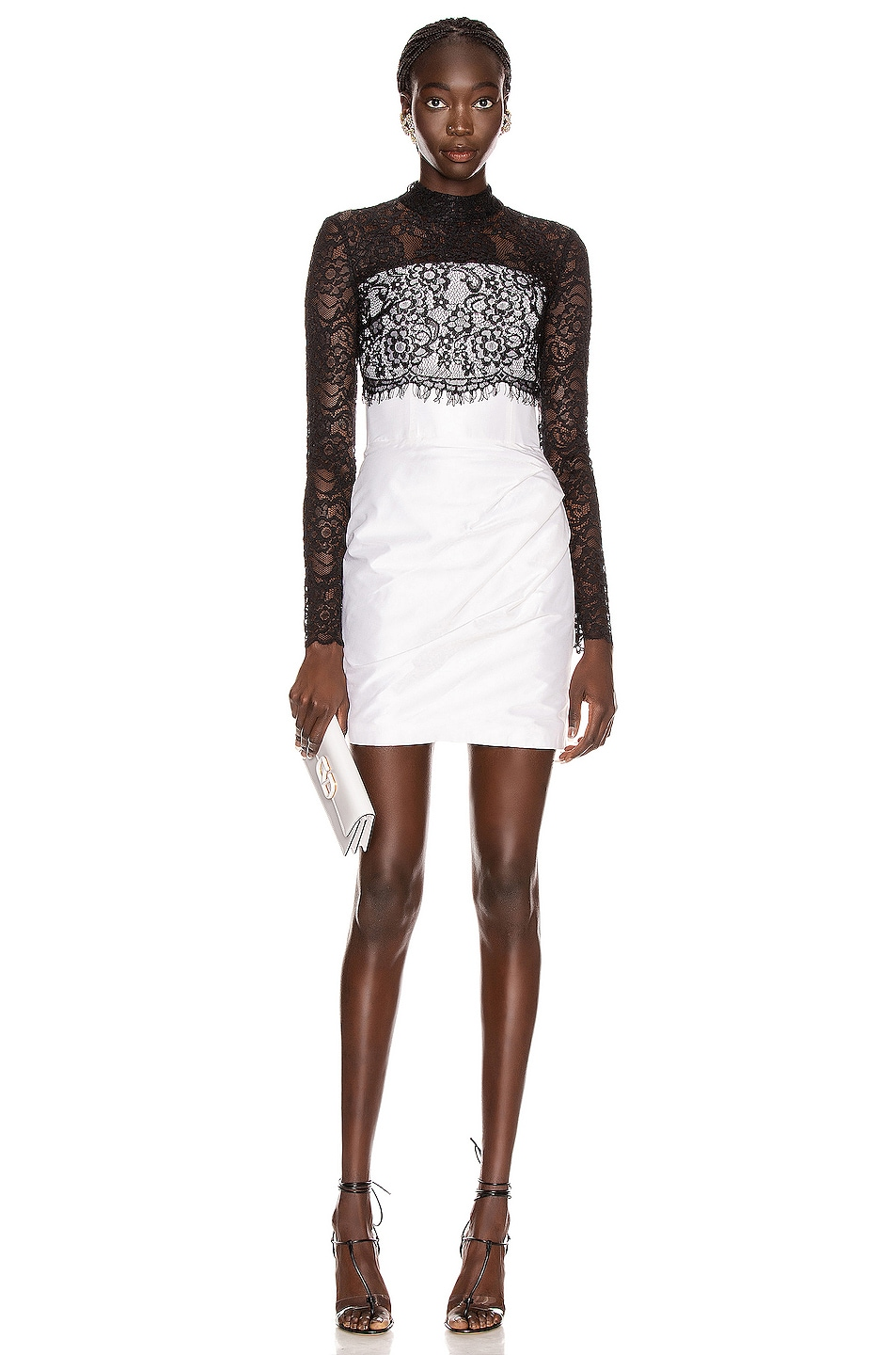 Image 1 of RASARIO Lace Corset Mini Dress in Black & White