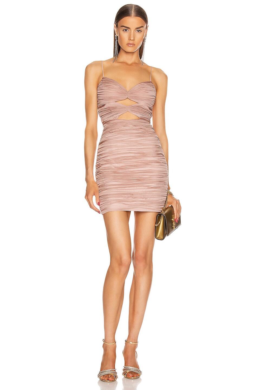Image 1 of RASARIO Draped Cutout Mini Dress in Pink Beige
