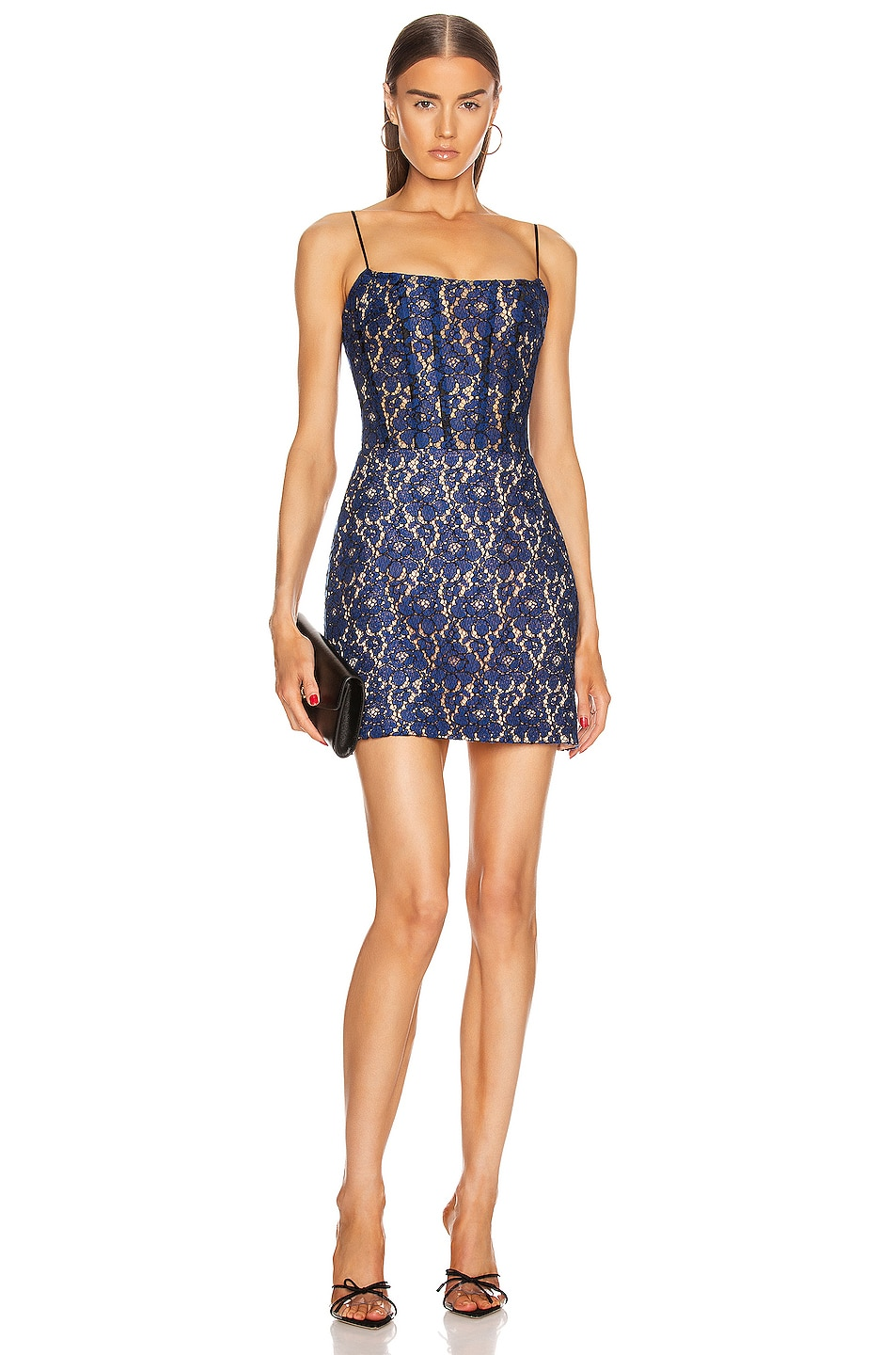 Image 1 of RASARIO for FWRD Lace Corset Mini Dress in Blue