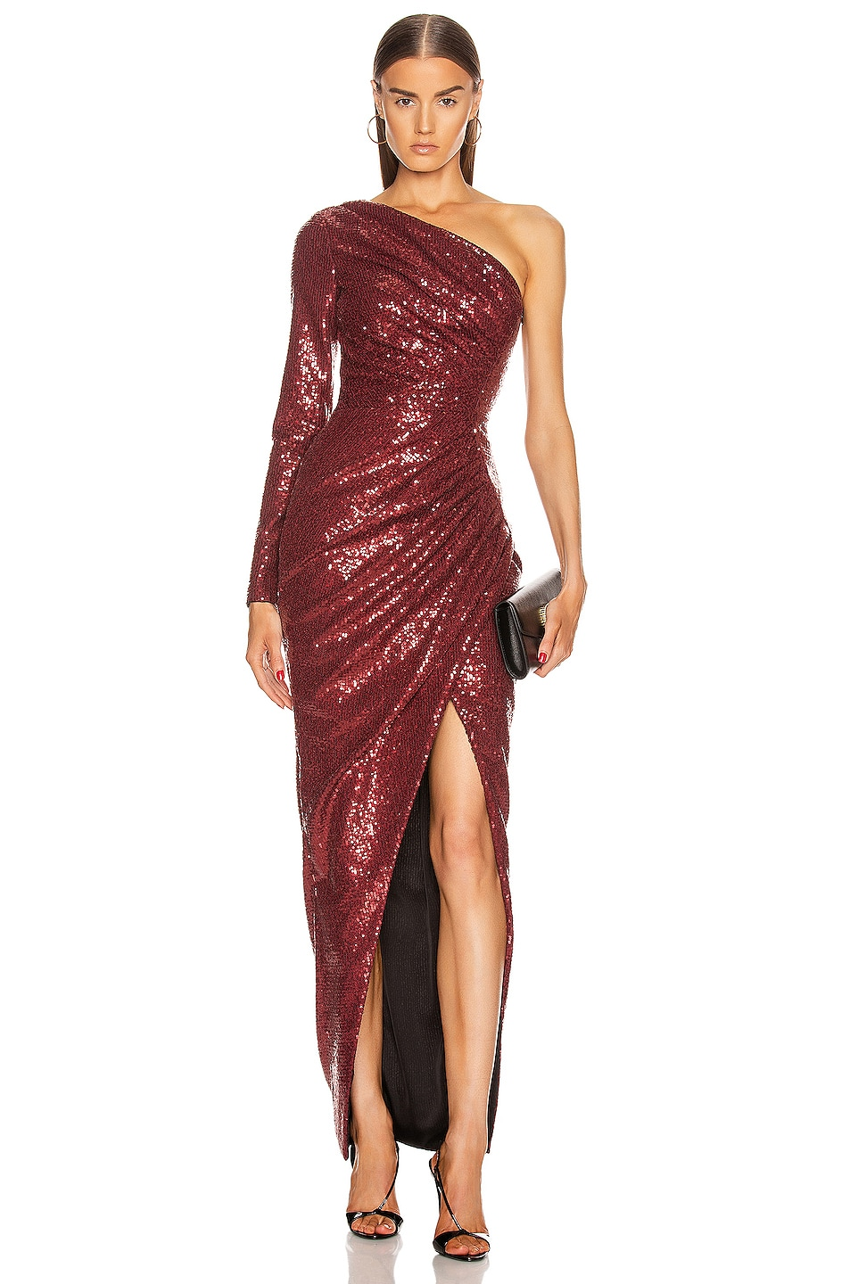 Image 1 of RASARIO for FWRD One Shoulder Draped Sequin Gown in Burgundy