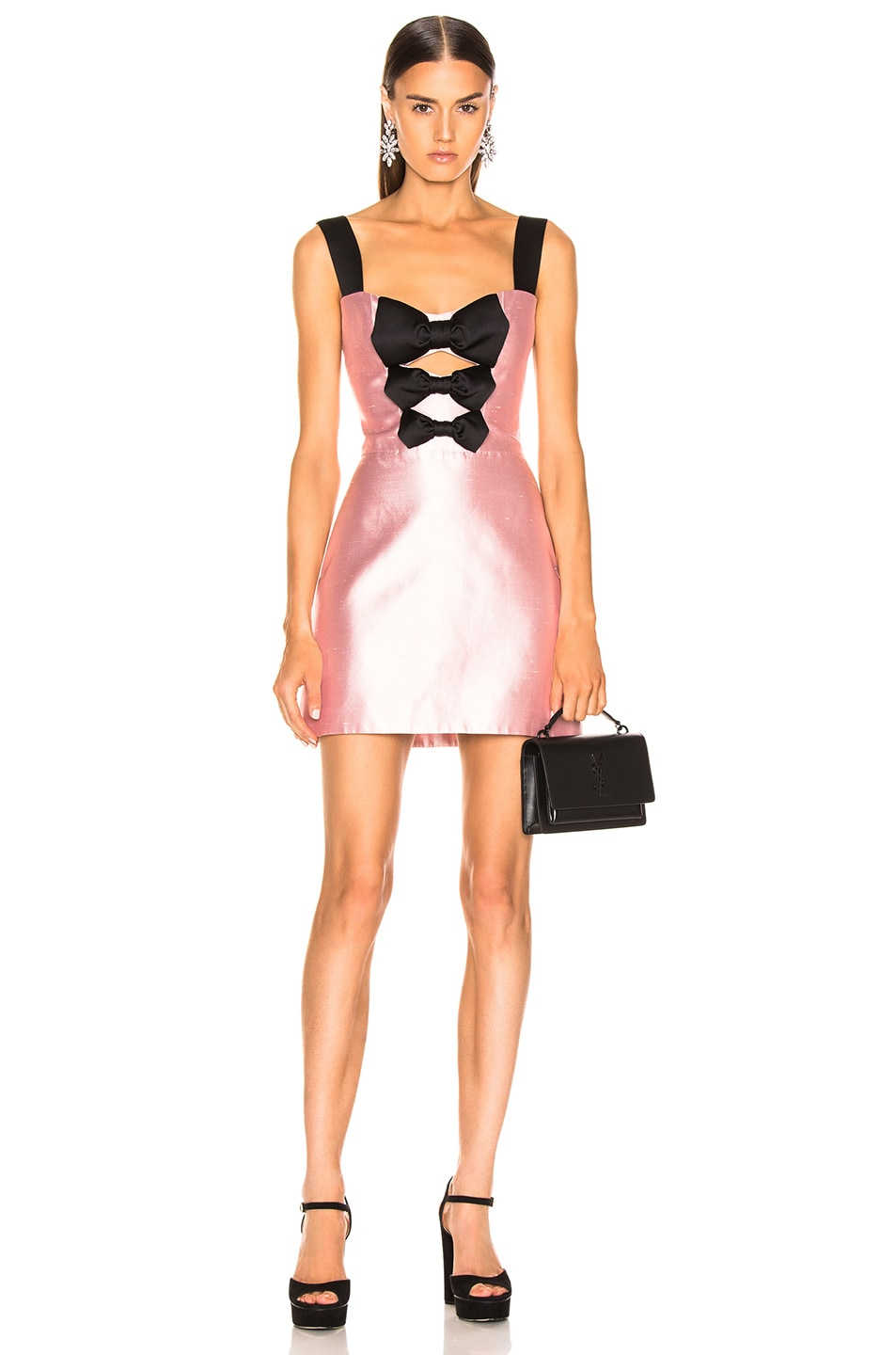 Image 1 of RASARIO Front Bow Mini Dress in Pink & Black