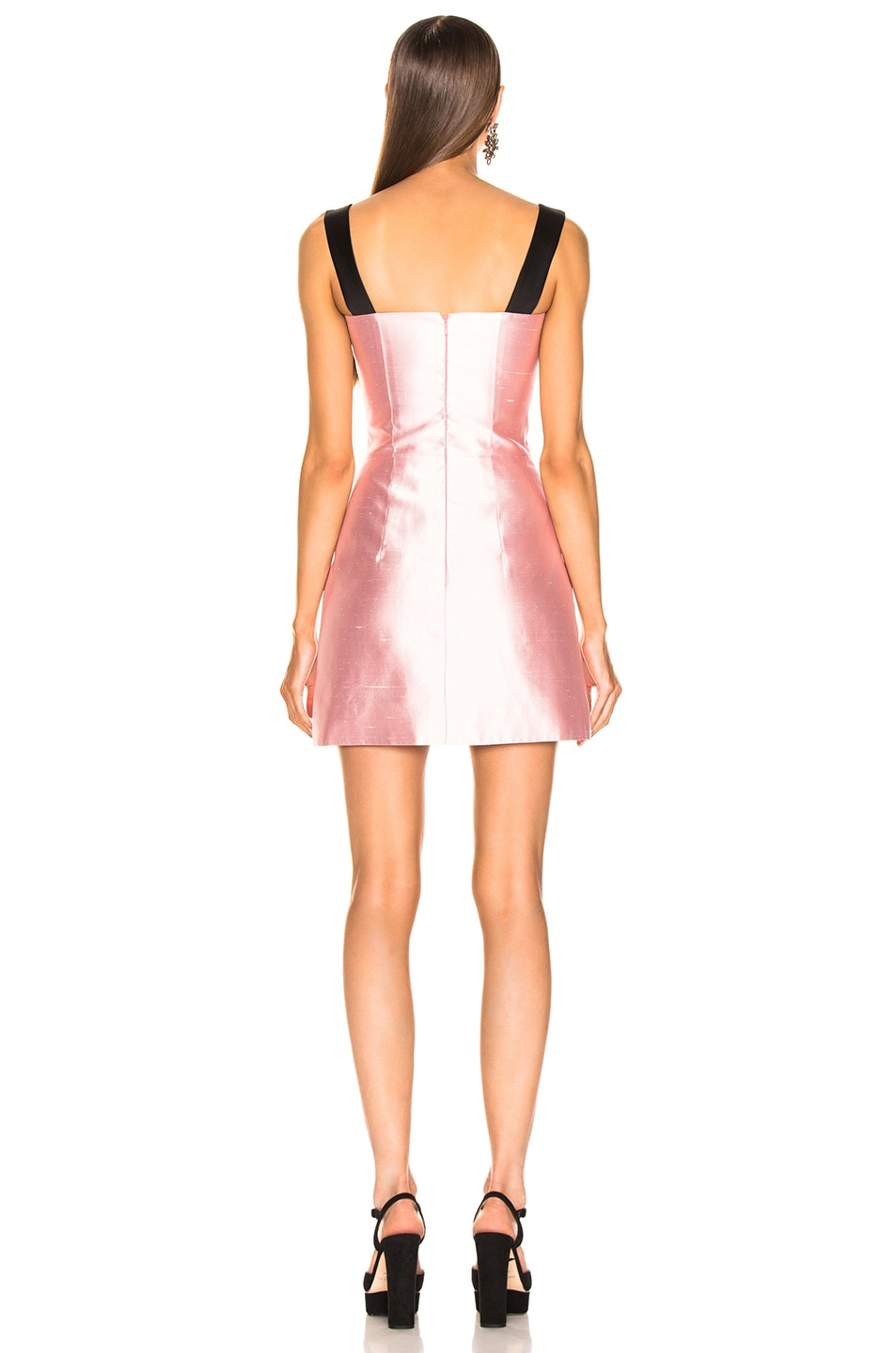 Image 3 of RASARIO Front Bow Mini Dress in Pink & Black