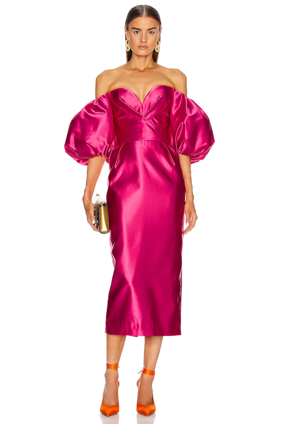 Image 1 of RASARIO for FWRD Puff Sleeve Corset Midi Dress in Hot Pink