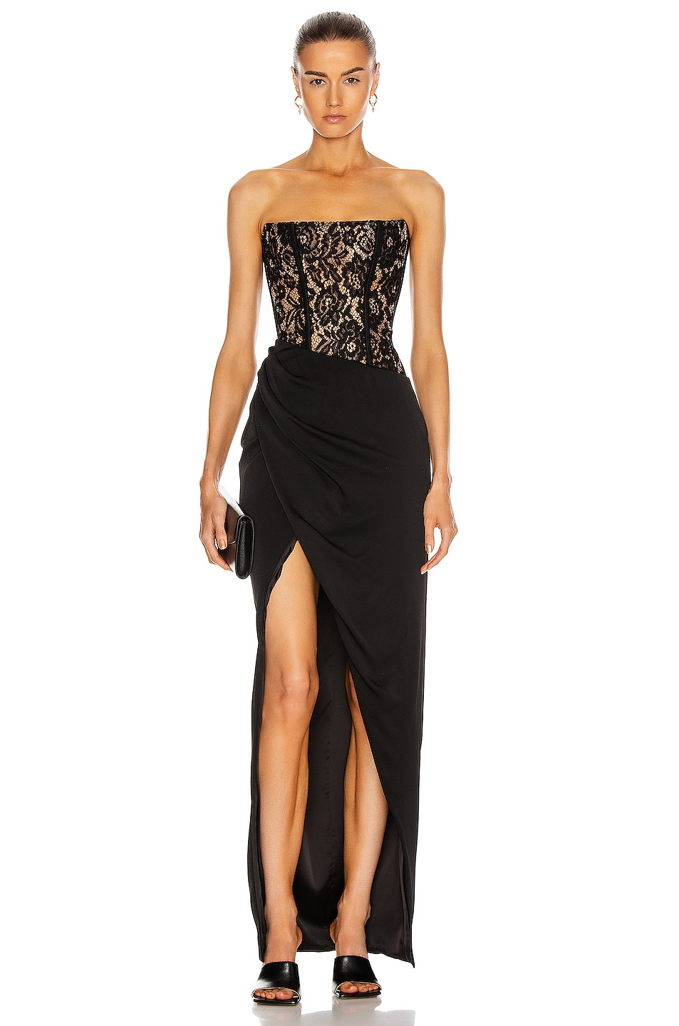 Image 1 of RASARIO Asymmetric Lace Corset Gown in Black