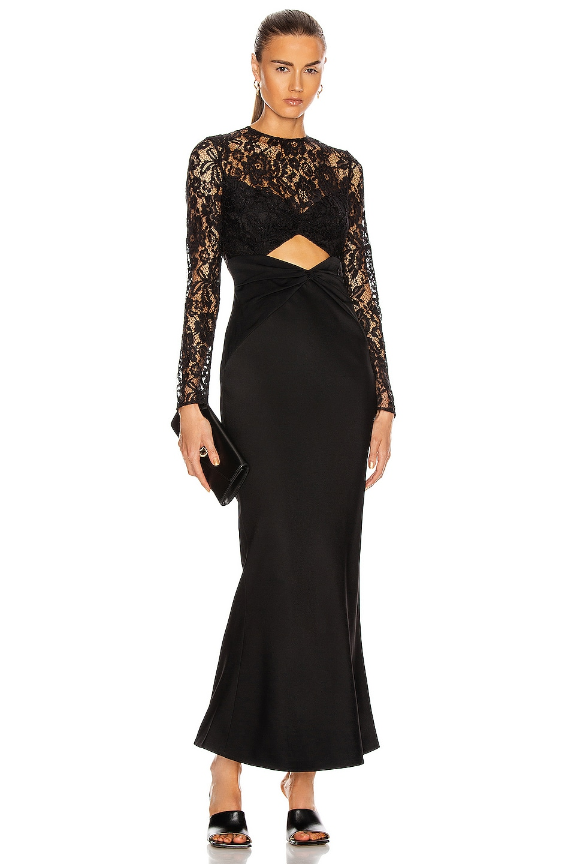 Image 1 of RASARIO Cutout Maxi Dress in Black