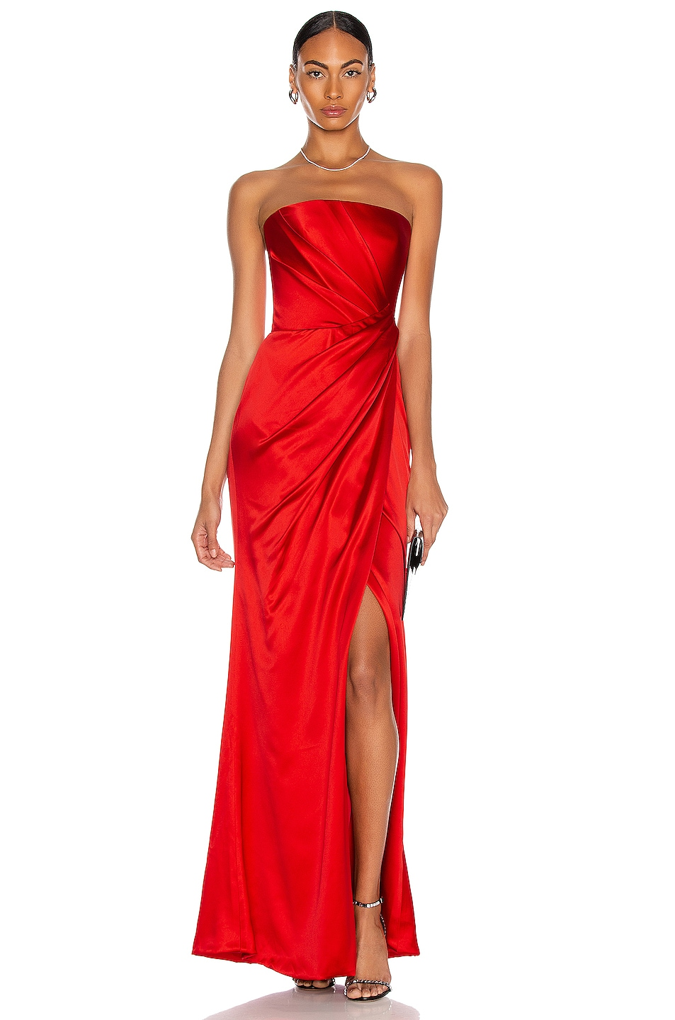 Image 1 of RASARIO Asymmetric Draped Corset Gown in Red