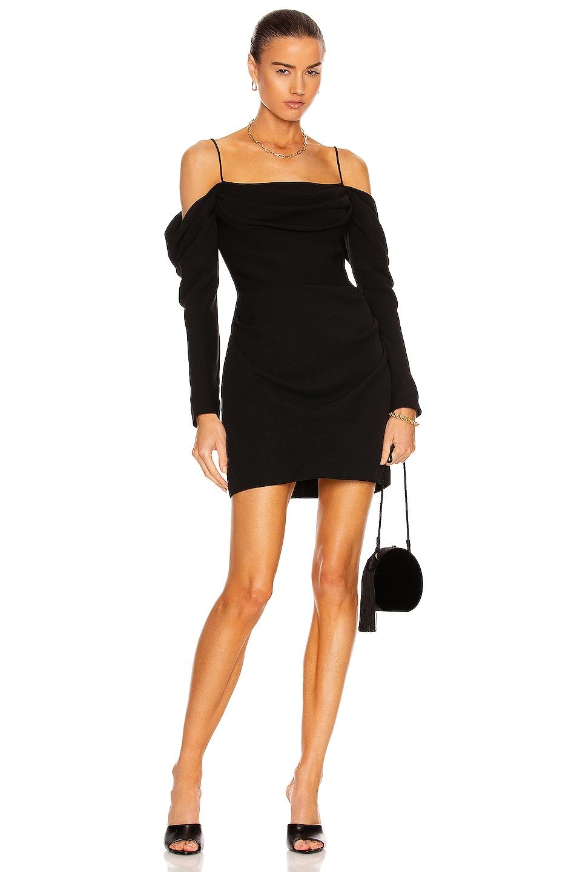 Image 1 of RASARIO Off the Shoulder Draped Mini Dress in Black