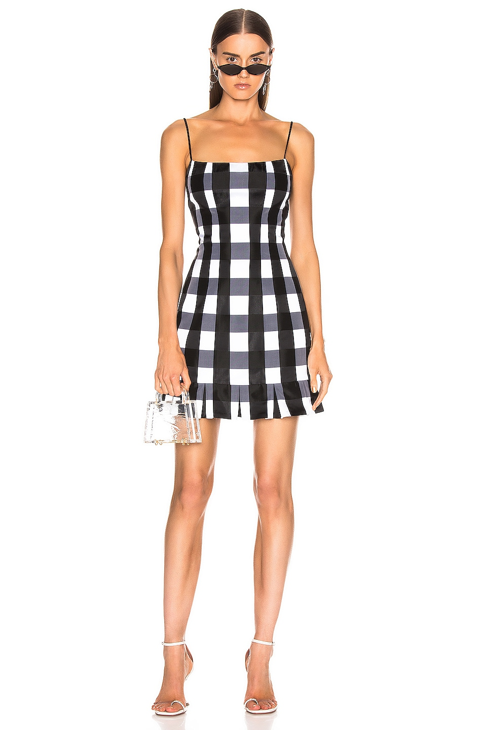 Image 1 of RASARIO Checked Satin Mini Dress in Black & White