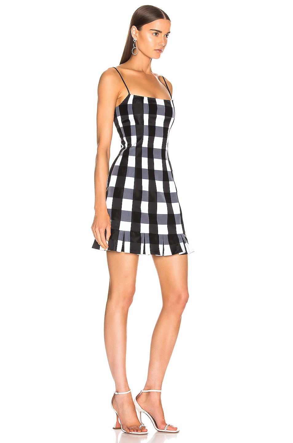 Image 2 of RASARIO Checked Satin Mini Dress in Black & White