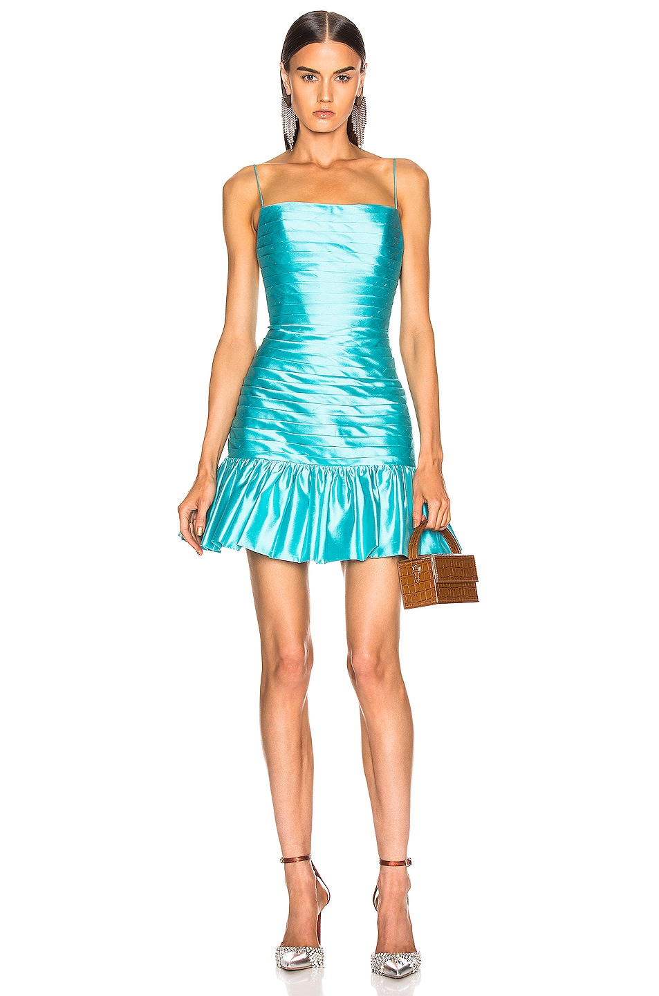 Image 1 of RASARIO Ruffle Corset Mini Dress in Turquoise
