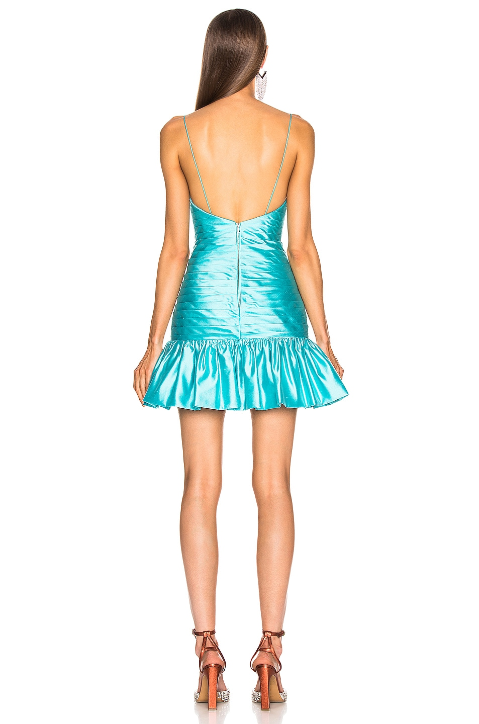 Image 3 of RASARIO Ruffle Corset Mini Dress in Turquoise