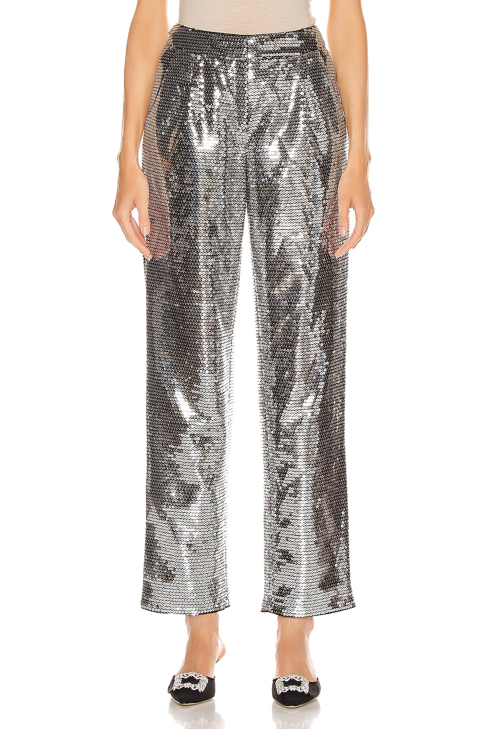 Image 1 of RASARIO Sequined Cigarette Pant in Silver