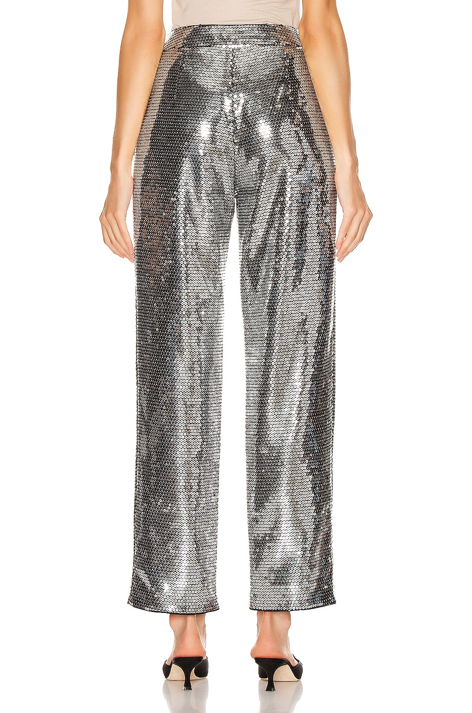 Image 3 of RASARIO Sequined Cigarette Pant in Silver
