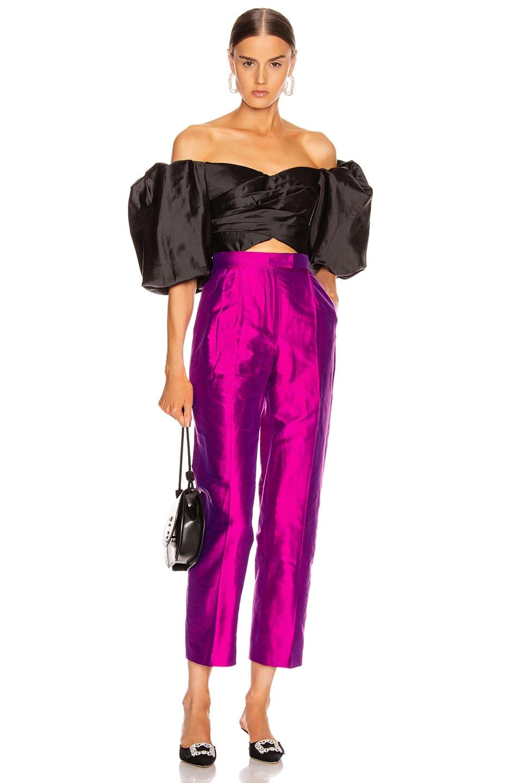 Image 4 of RASARIO Silk Pant in Magenta