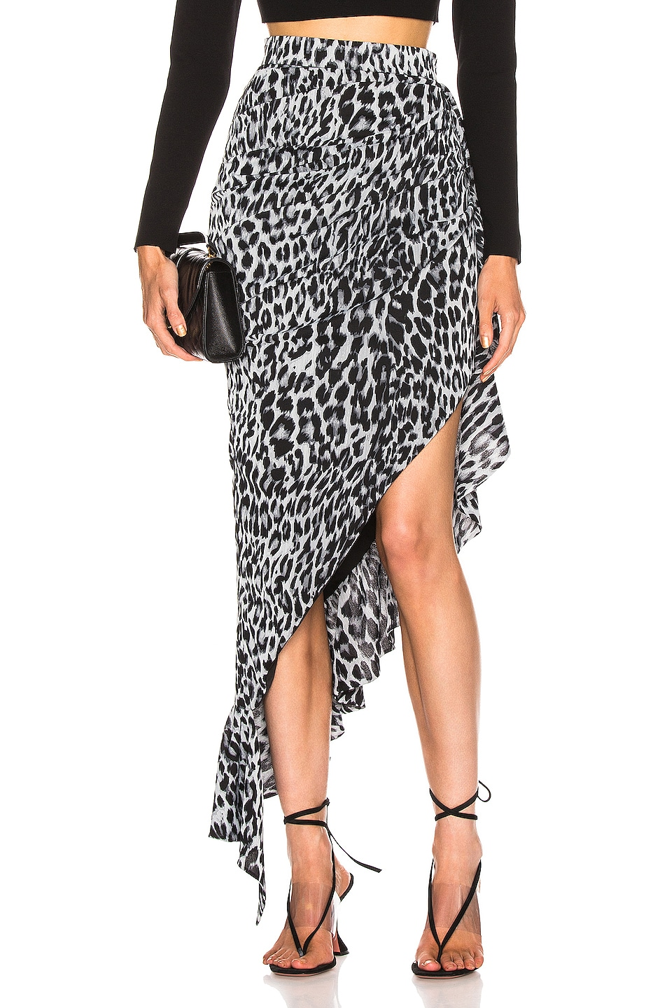 Image 1 of RASARIO Draped Leopard Midi Dress in Grey
