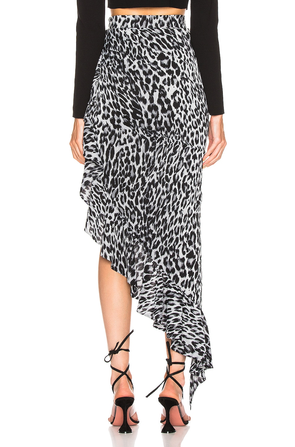 Image 4 of RASARIO Draped Leopard Midi Dress in Grey