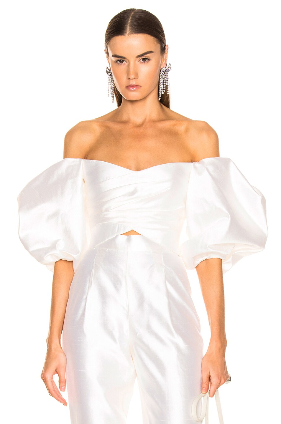 Image 1 of RASARIO Puff Sleeve Wrap Top in White