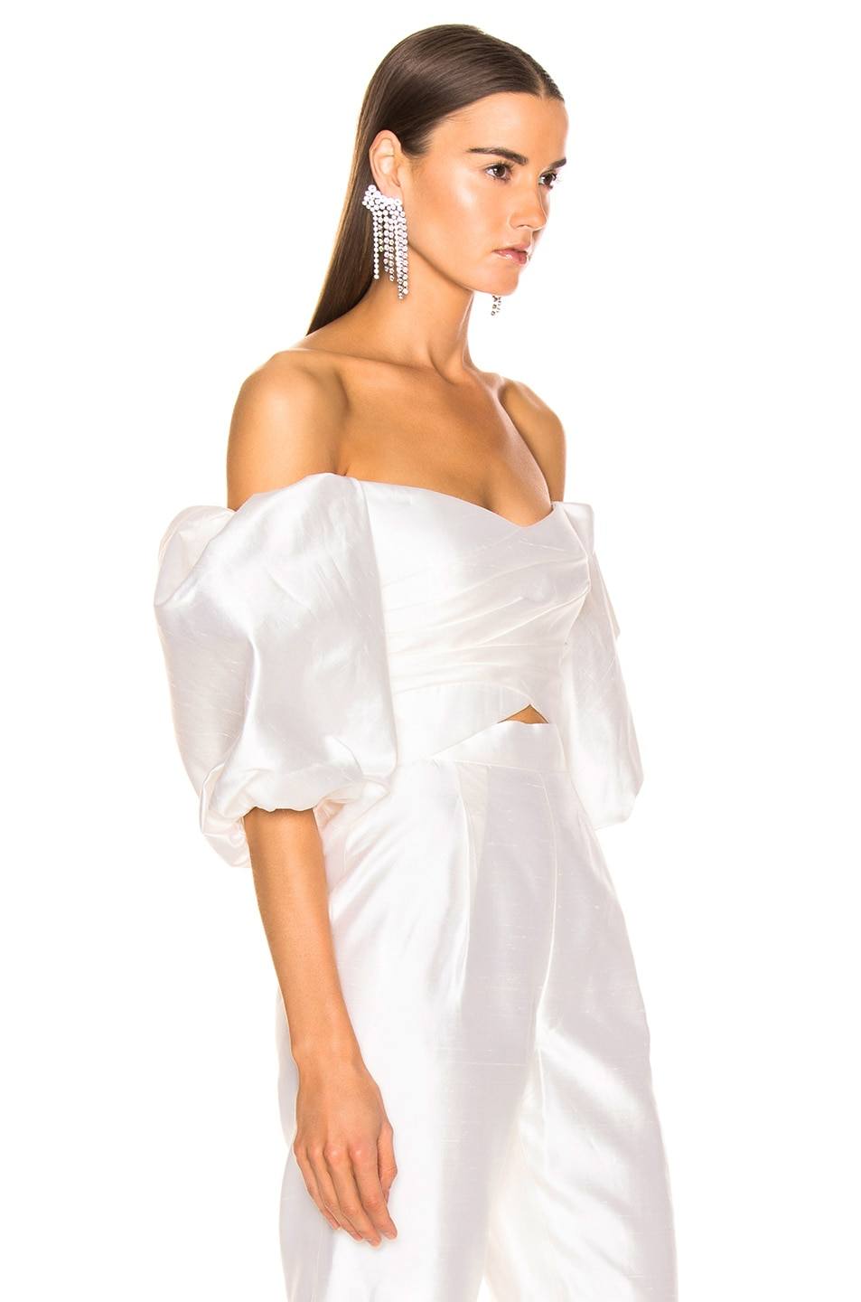 Image 2 of RASARIO Puff Sleeve Wrap Top in White
