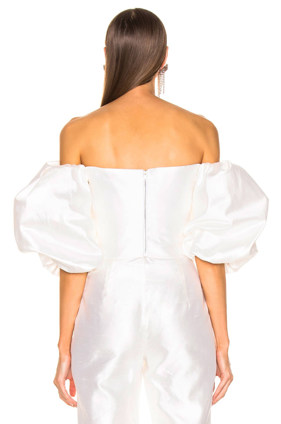Image 3 of RASARIO Puff Sleeve Wrap Top in White