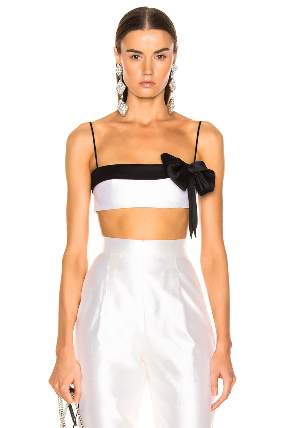 Image 1 of RASARIO Bow Cropped Top in White & Black