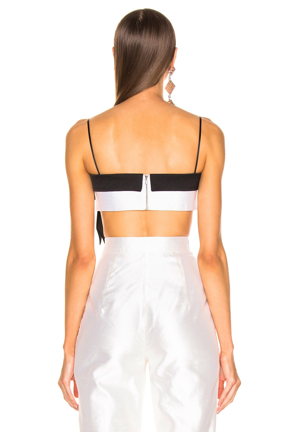 Image 4 of RASARIO Bow Cropped Top in White & Black
