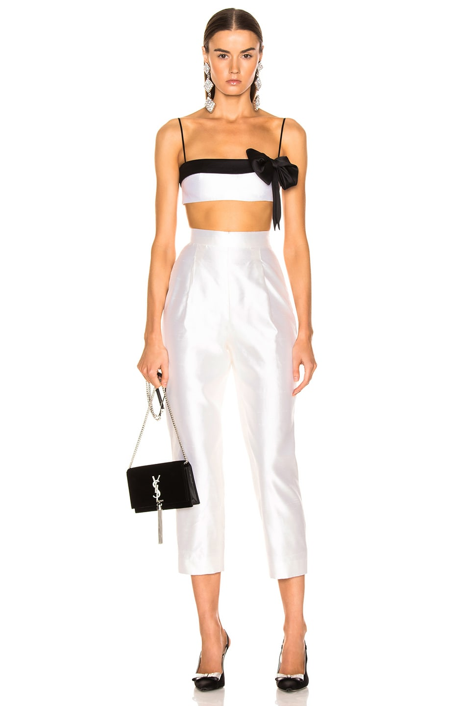Image 5 of RASARIO Bow Cropped Top in White & Black