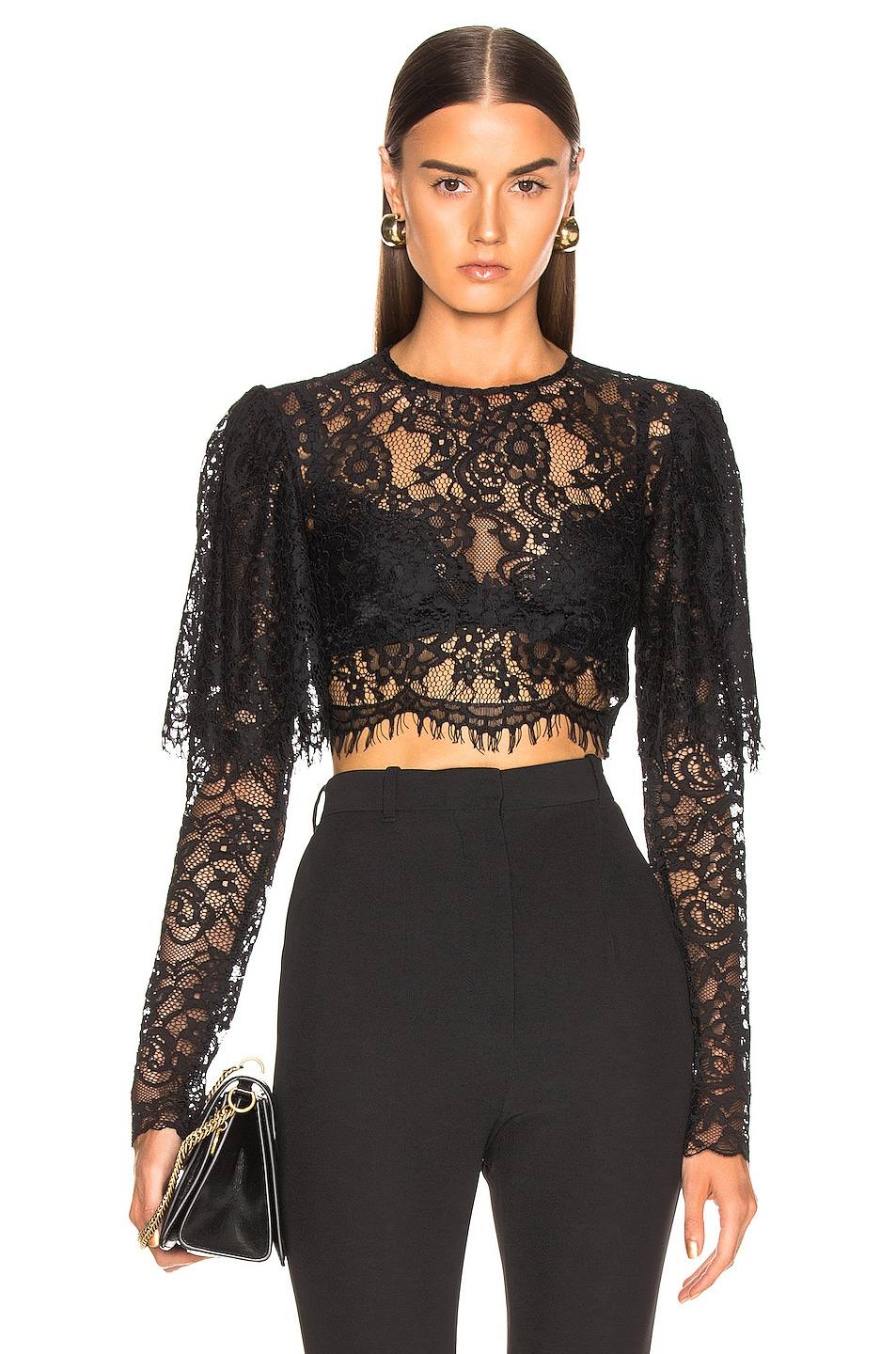 Image 1 of RASARIO Lace Cropped Top in Black