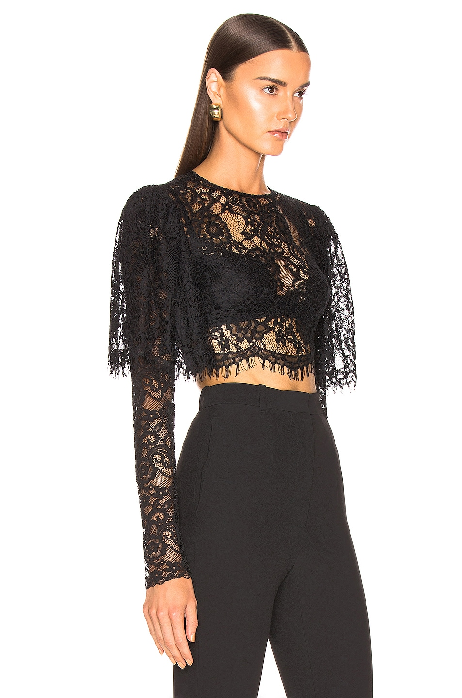 Image 2 of RASARIO Lace Cropped Top in Black
