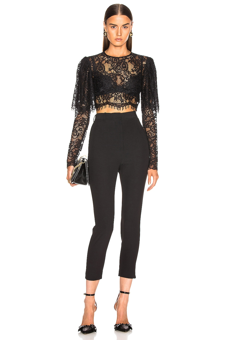 Image 4 of RASARIO Lace Cropped Top in Black