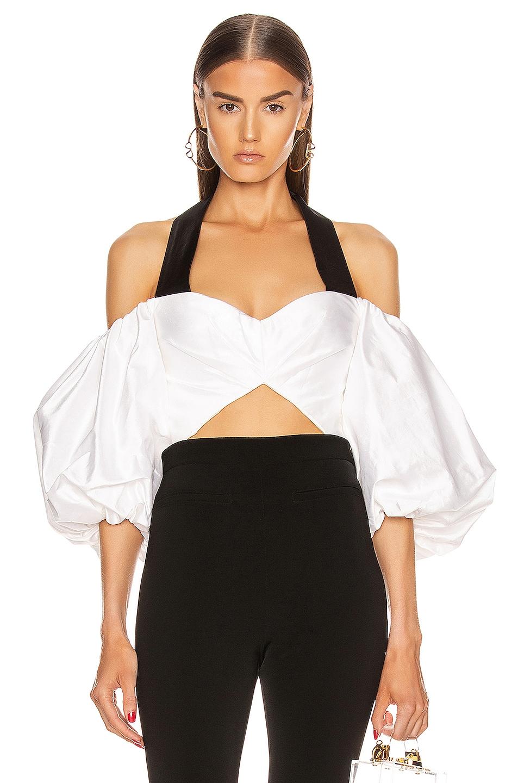 Image 1 of RASARIO Voluminous Sleeve Silk Top in White & Black