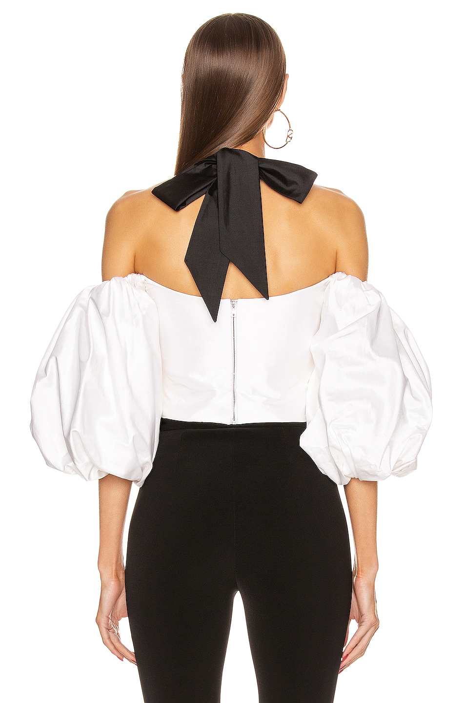 Image 3 of RASARIO Voluminous Sleeve Silk Top in White & Black