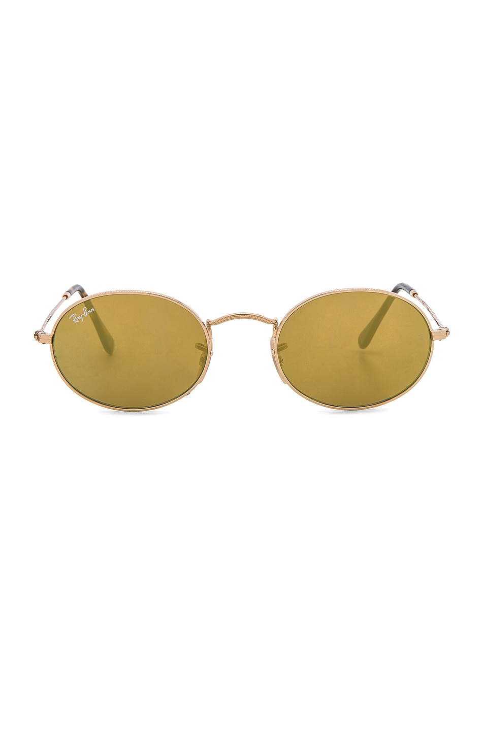 Image 1 of Ray-Ban Oval Flat Sunglasses in Gold Flash