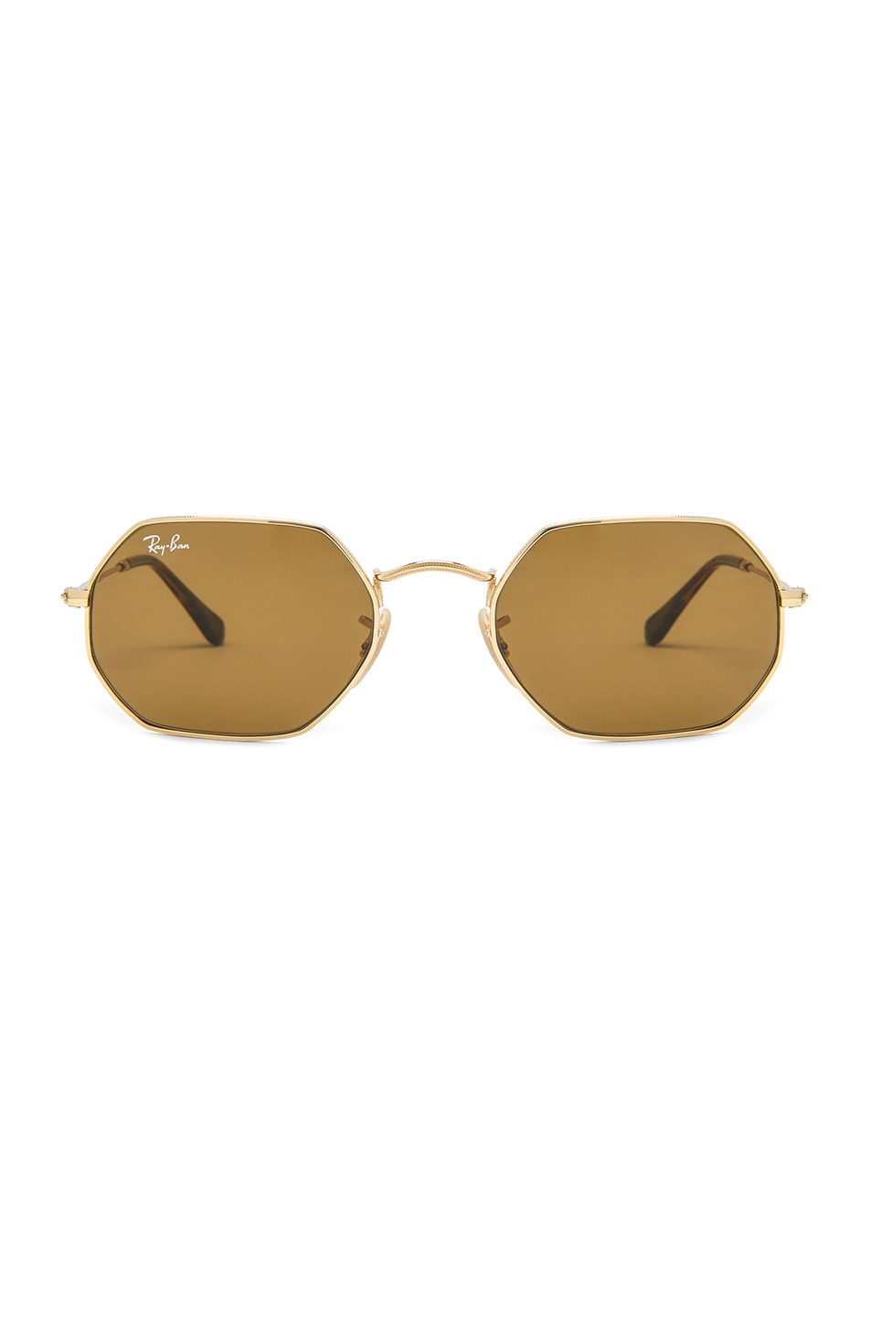 Image 1 of Ray-Ban Octagonal Sunglasses in Gold & Brown