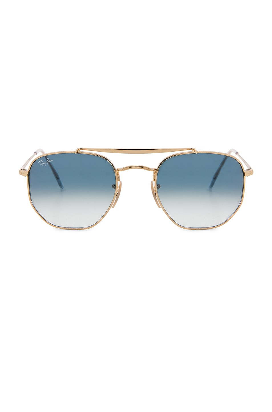 Image 1 of Ray-Ban Marshal Sunglasses in Gold & Gradient Blue