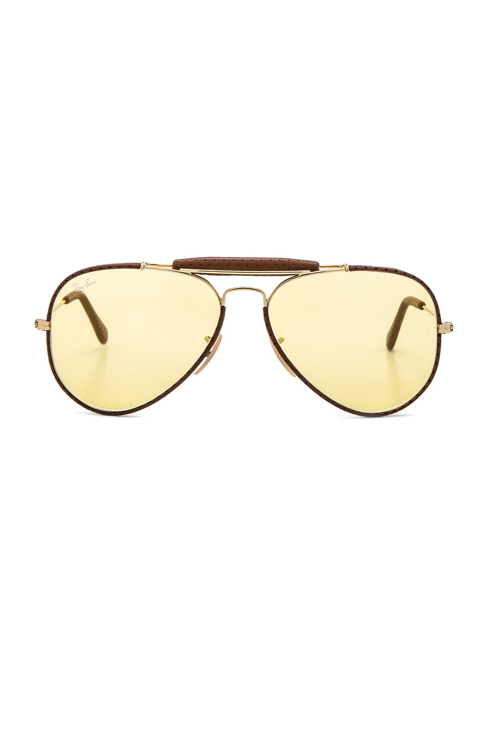 Image 1 of Ray-Ban Aviator Craft Sunglasses in Brown Leather & Yellow