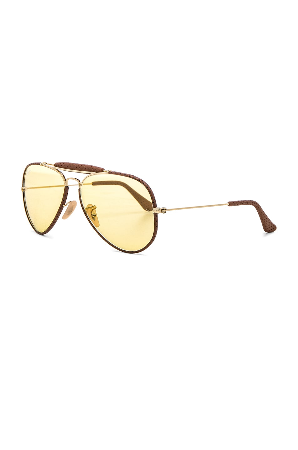 Image 2 of Ray-Ban Aviator Craft Sunglasses in Brown Leather & Yellow