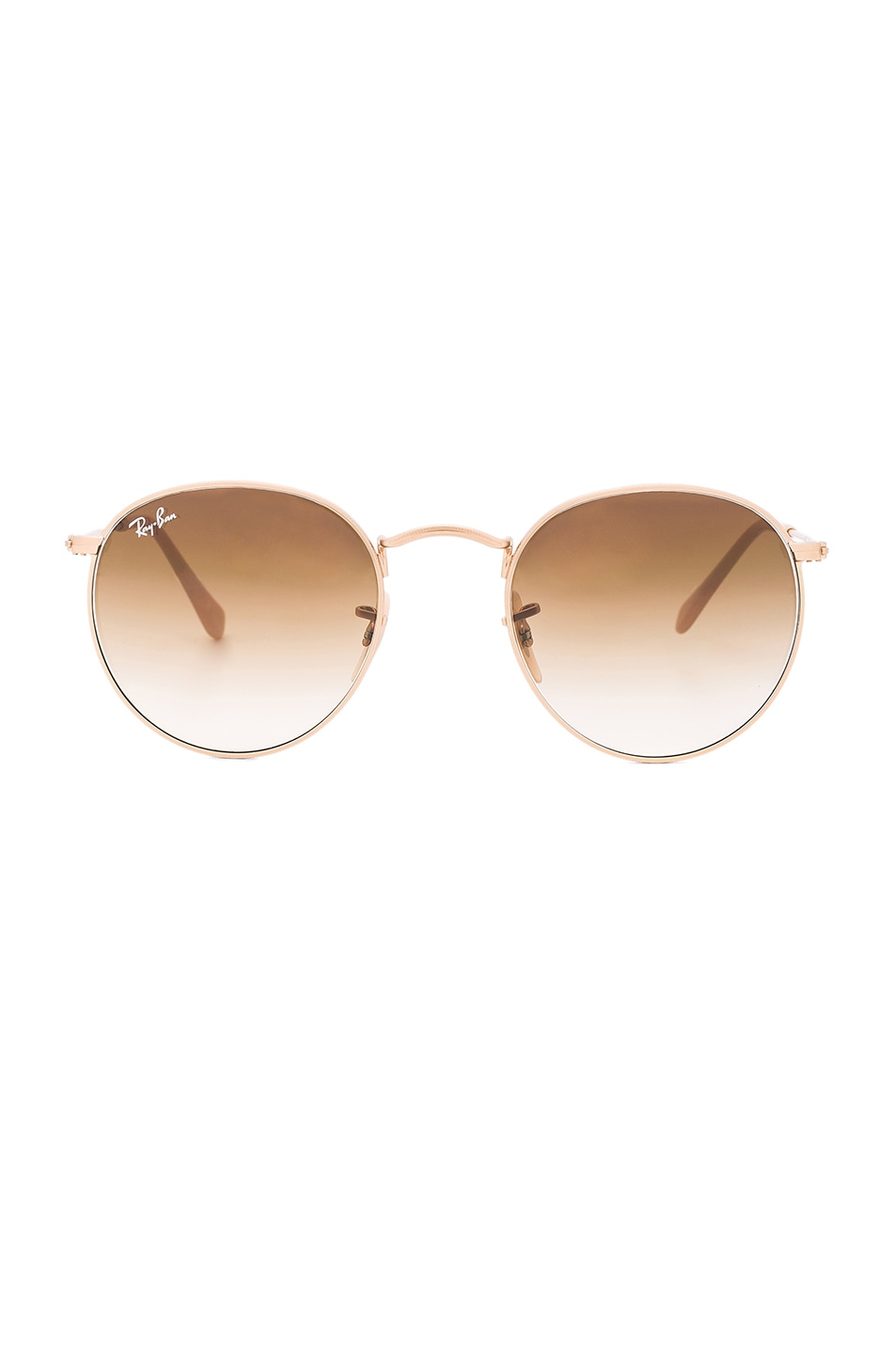 d19d98b09c Image 1 of Ray-Ban Round Sunglasses in Gold   Gradient Brown