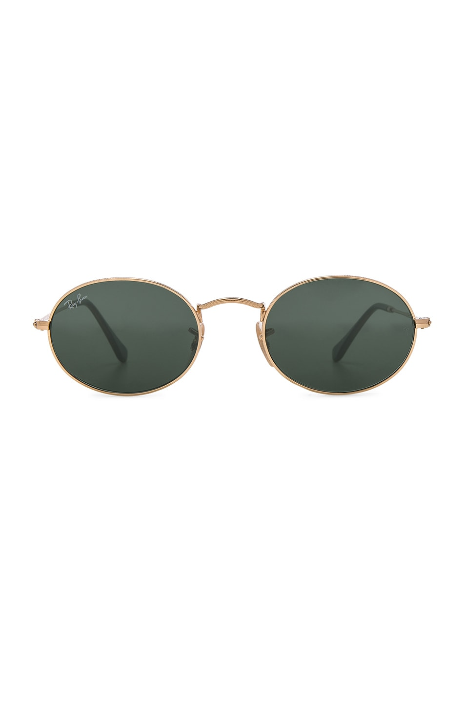 Image 1 of Ray-Ban Oval Flat Sunglasses in Gold & Green