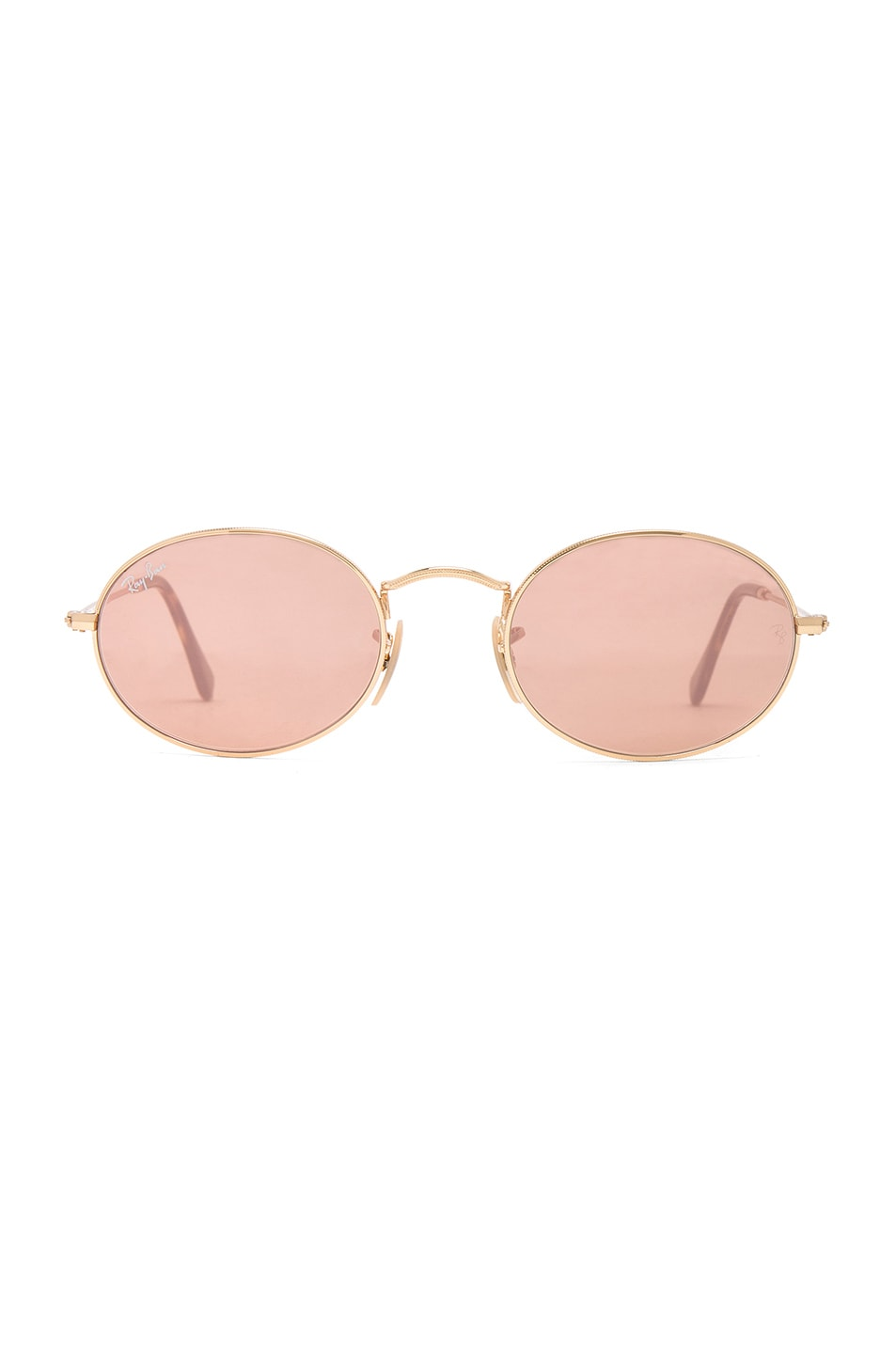 f47257039b3 Image 1 of Ray-Ban Oval Flat Sunglasses in Gold   Copper Flash