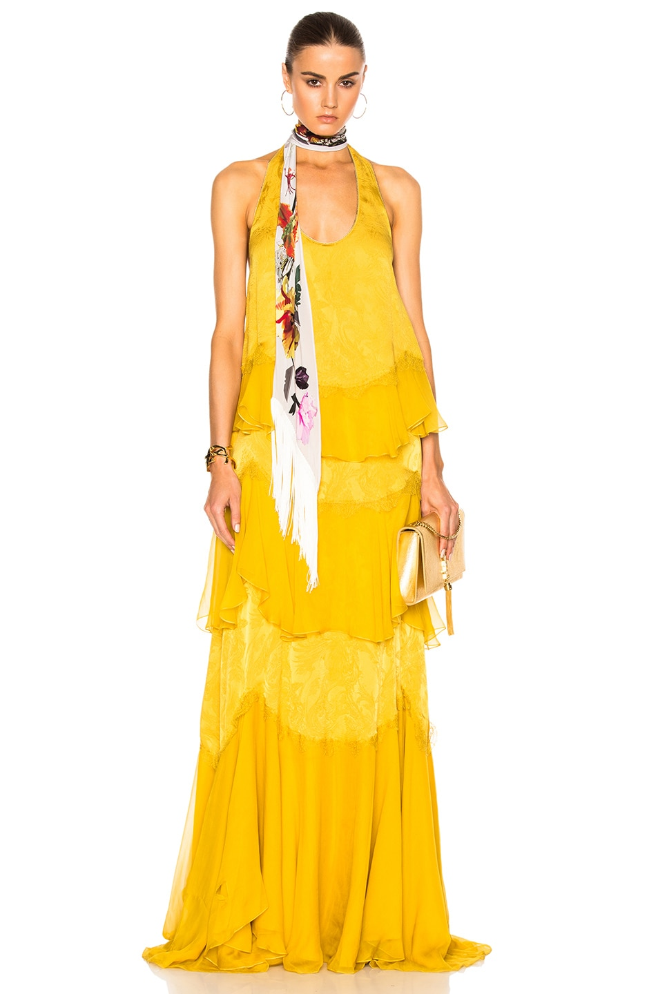 Image 1 of Roberto Cavalli Woven Maxi Dress in Gold