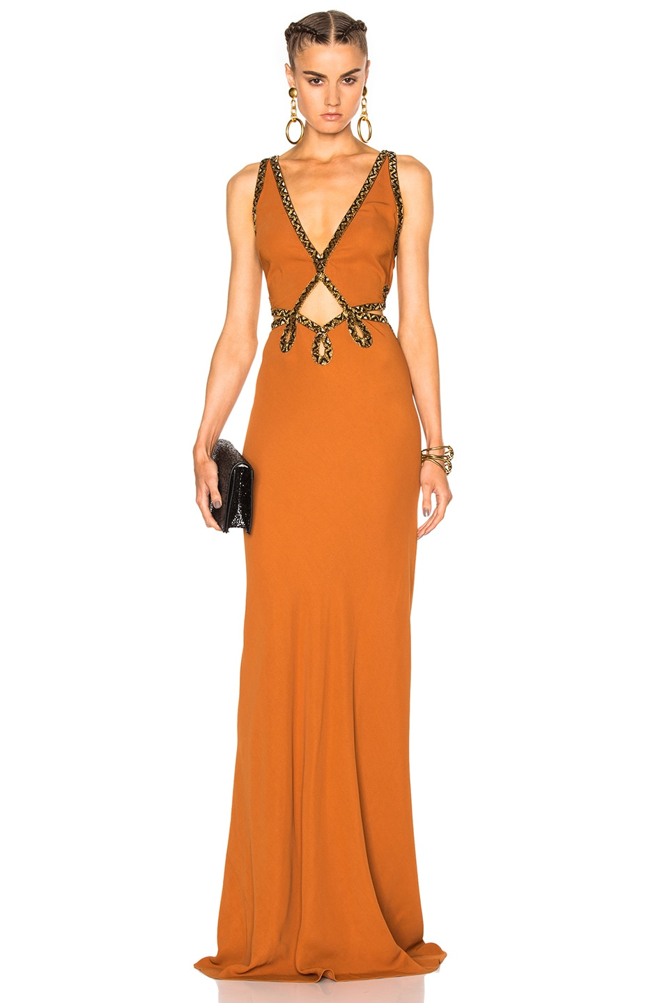 Image 1 of Roberto Cavalli Woven Gown in Rust