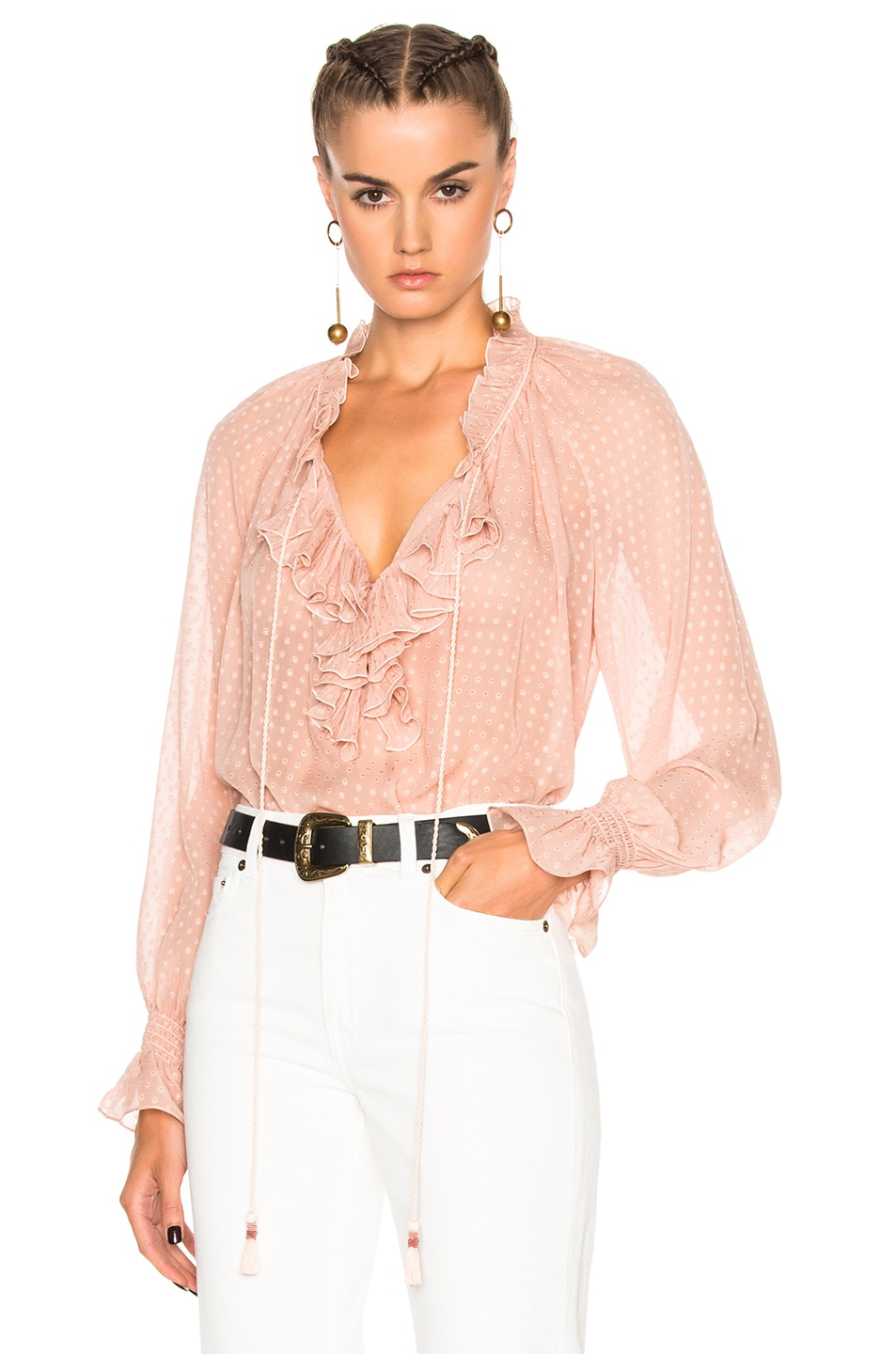 Image 1 of Roberto Cavalli Woven Blouse in Blush