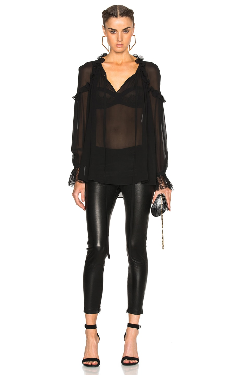 Image 1 of Roberto Cavalli Georgette Blouse in Black