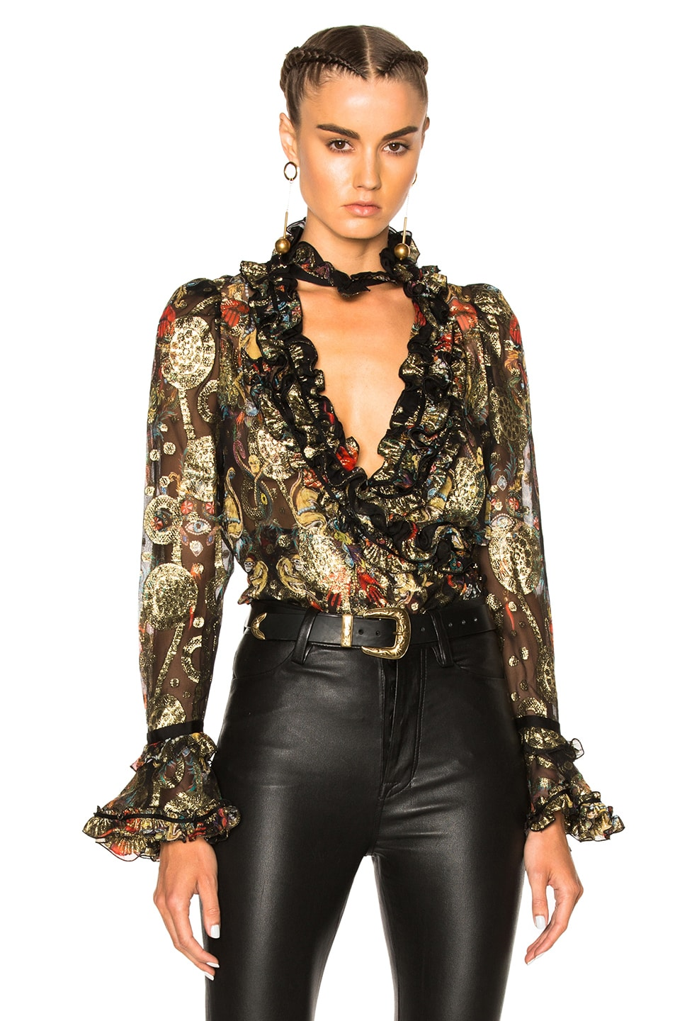 Image 1 of Roberto Cavalli Printed Blouse in Black, Red & Gold