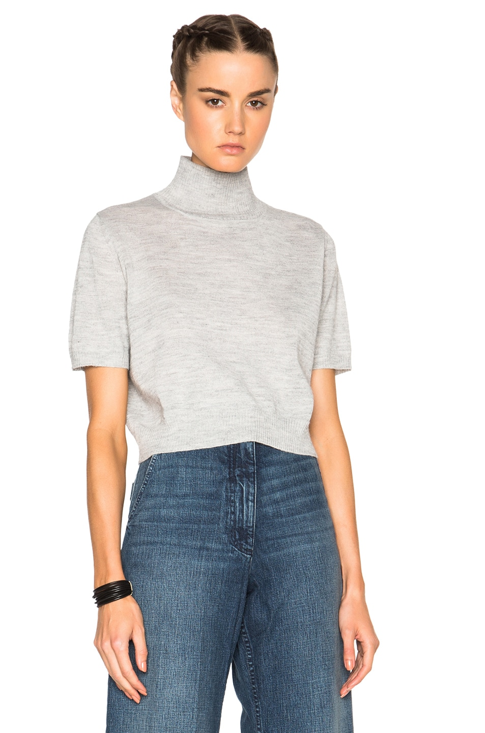 Image 1 of Rachel Comey Cropped Sweater in Heather Grey